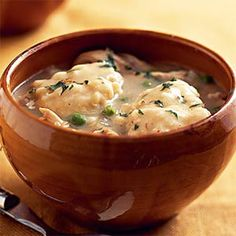 I made this tonight with homemade dumplings and YUM!!! Great flavor. (I made the chicken by putting an entire chicken in the crock pot with one can chicken broth, half stick butter and 6 cloves of garlic and simmer for 6 hours.) Easy!