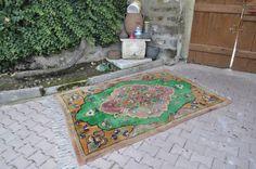 "Green Color Long pile Vintage Rug 5'2"" x 7'5"" Very Solft Wool Floor Rug Turkish Rug Boho Rug Decorative Rug Floor Rug Aztec Rug"