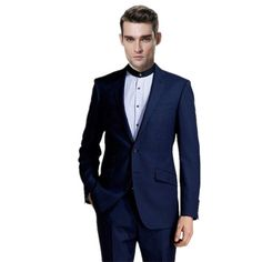 Two-piece fashion lapel two buttons man leisure suit 2018 dark blue men wedding suits mens terno masculino costume mariage homme