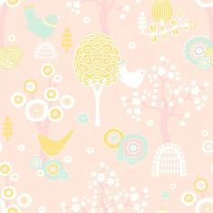"Majvillan Wallpaper Company brings us this green children's wallpaper ""Cherry Valley""in Pink where little birds sit on sweet dreams in a valley of flowers Non-Woven Wallpaper (paste the wall) Washable & Eco-Friendly Roll Size: x Repeat: Straight Match Small Space Interior Design, Interior Design Living Room, Yellow Turquoise, Pink Yellow, Easy Up, Valley Of Flowers, Cherry Valley, Wallpaper Companies, Kids Room Wallpaper"