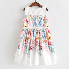 Little Story Children Girl Short Sleeve Pure Color Embroidery Lining Dress White Shorts Girls Flying Sleeve Collar Solid