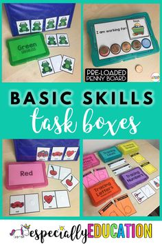 Task boxes contain materials for short, familiar, and structured activities, and excellent educational tools for students with mild to severe learning disabilities. Special Education Activities, Autism Education, Autism Learning, Autism Activities, Special Education Classroom, Learning Disabilities, Classroom Activities, Educational Activities, Multiple Disabilities