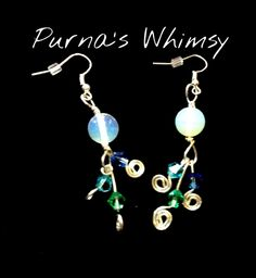 Moonstone Earrings with Crystal Spirals - Purna's Whimsy