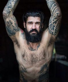 60 Cool and Gentle Full Beard Styles - Fashionetter Beards And Mustaches, Moustaches, Scruffy Men, Hairy Men, Bearded Men, Great Beards, Full Beard, Beard Tattoo, Tattoo Boy