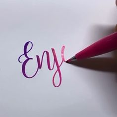 """Handwriting """"Enjoy""""👉www.me💝Save OFF with code Stationery Handwriting """"Enjoy""""👉www.me💝Save OFF with code Stationery Hand Lettering Art, Creative Lettering, Brush Lettering, Calligraphy Handwriting, Calligraphy Letters, Penmanship, Bullet Journal Art, Lettering Tutorial, Drawing Hands"""