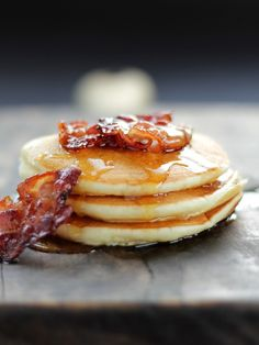 Pancakes with Bacon and Maple Syrup. #food