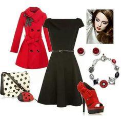 Conjunto en negro y rojo
