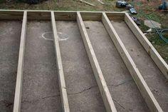 Deck and Cover! - * View Along the Way * Deck Over Concrete, Concrete Porch, Cement Patio, Wood Patio, Deck Building Plans, Deck Plans, Cool Deck, Diy Deck, Porches