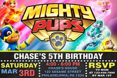PAW PATROL INVITATION - Mighty pups - Mighty Pups Birthday Invitation - Custom Birthday - Printable