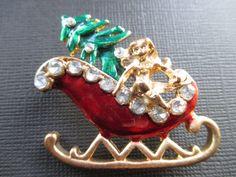 Vintage Enameled Christmas sleigh brooch by BlackberryJamJewelry