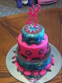 Browning Birthday Cakes for Girls | Camo Browning Country Girl's Pink Tiered Cake — Birthday Cakes