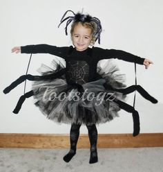 Halloween Black and silver girls spider tutu dress by Tootstogz