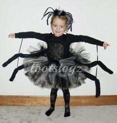 Halloween zwart en zilver meisjes spin tutu jurk door Tootstogz