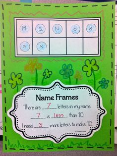 Name In a Ten Frame: a fun way to assess student understanding of five and ten frames!