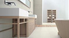 Enzo Berti ha disegnato per GD Arredamenti i mobili da bagno della collezione Dogi nella versione sospesa e a terra in legno di Frassino tinto Norvegia.