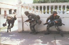 """The Airborne engaging members of the Panamanian Defense Force during Operation Just Cause. Military Terms, Military Guns, Military Life, Military History, Invasion Of Grenada, 7th Infantry Division, Military Operations, Military Pictures, United States Army"