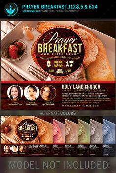 Prayer Breakfast Church Flyer Template — Photoshop PSD #rustic #cancer awareness • Available here → https://graphicriver.net/item/prayer-breakfast-church-flyer-template/11227303?ref=pxcr