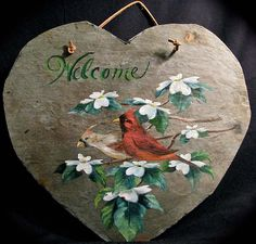 Country Painted Slates | joyces creative country shop online slate cardinal welome slate 12
