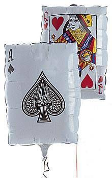 This 30 inch high Playing Card Mylar Balloon has an Ace of Spades on one side and a Queen of Hearts on the other. Playing Card Mylar Balloons make great table accent for your casino or Vegas themed events.