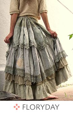 The Taupest Bustleback OverDyed Upcycled Tattered Long Dreamy SKIRT Lace, Vintage OverDyed - Boho Gypsy Style🌵💙 Mode Hippie, Bohemian Mode, Bohemian Style, Bohemian Skirt, Ruffle Skirt, Ruffles, Dust Ruffle, Boho Outfits, Cute Outfits