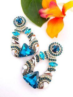 Prom Earrings, Bridesmaid Earrings, Rhinestone Earrings, Blue Earrings, Wedding Earrings, Bridesmaid Gifts, Statement Earrings, Handmade Jewellery, Earrings Handmade