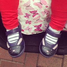 We adore this snap of Bella's new Binkie bunny shoes showing off their stripy socks!  #Clarks # #regram @lyndseykate1
