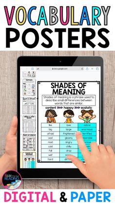 Teaching vocabulary in Google Classroom with digital vocabulary posters, printable vocabulary anchor charts, roots and root word poster, roots and affixes poster, greek and latin roots posters, shades of meaning vocabulary strategy poster