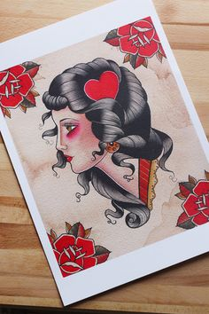 Stampa donna old school con rose A3. Pin Up and di HardtimesTattoo