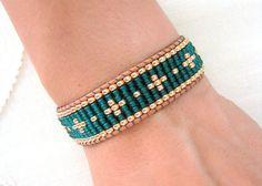 Grano telar abrigo pulsera - pulsera de cuentas verde y oro Esmeralda