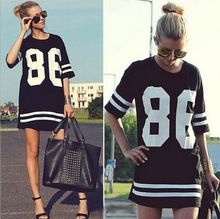 Summer Style Women T Shirt Celebrity Number 86 Print Tops Long Loose Hip Hop American Baseball Sports Tee Ladies T-shirt Blusas(China (Mainland))