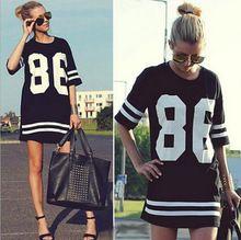 Estilo do verão mulheres T camisa celebridade número 86 impressão Tops longo solto Hip Hop americana de beisebol Sports T senhoras t-shirt Blusas(China (Mainland))