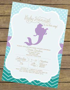 Mermaid baby shower invitation sweet little mermaid girl DIY
