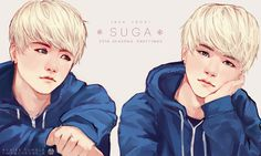 Min YoonGi | Suga | BTS fanart. ☆ ~ Sometime We Are Like Stars. We Fall So Someone's Wish Can Come True. ~ ☆<<<Is it just me, or does he look a lot like Jack Frost?