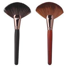 2016 HotTop-sale Pro Makeup Blush Brush Large Fan Goat Hair Face Powder Foundation Cosmetic Tool  8LYA