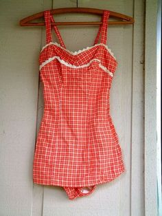 vintage red gingham swimsuit