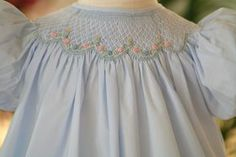 Girls Blue-Smocked-Dress with Blue and Pink Bullion Roses