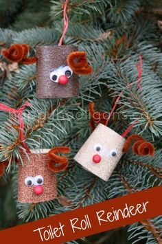 Hello, Reindeer!! Make these Toilet Roll Reindeer as Christmas tree ornaments or classroom decorations. From Happy Hooligans. (Repinned by Super Simple Songs.)