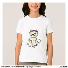 comfortable t-shirt for little girls with cute cat
