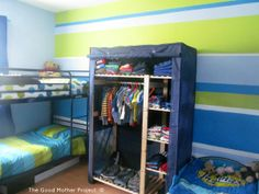 Love the different size stripes on the walls.  Cute for little guys.