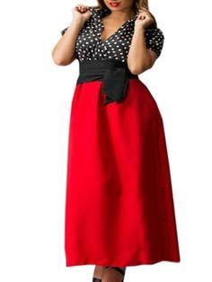 Color Block Polka Dot Charming V Neck Plus Size Maxi Dress  from fashionmia.com
