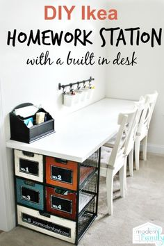 This DIY Ikea Homework Station is budget-friendly and easy to do! I love how it keeps everything organized and has a build in desk! Kids Homework Station, Homework Area, Casa Clean, Kids Study, Built In Desk, Kid Spaces, Home Organization, Home Projects, Diy Furniture