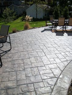 New Stained Concrete Patio Diy Driveways Ideas Stamped Concrete Patterns, Concrete Patio Designs, Paver Designs, Cement Patio, Backyard Patio Designs, Backyard Landscaping, Stamped Concrete Driveway, Concrete Stamping, Pattern Concrete