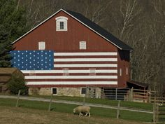 Old barn with flag