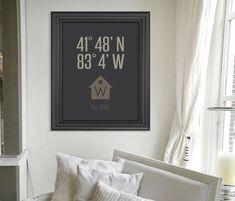 Personalized Housewarming Gift // Custom Latitude Longitude Housewarming Present // Wedding Gift Wall Art Print // New Home // Moving Gift