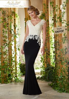 Shop Morilee's Two-Tone Jersey with Beaded Lace Appliqués on Net. Two-Tone Jersey Evening Gown Featuring a V-Neck Bodice Accented with Beaded Lace Appliqués on Net. Evening Dresses, Prom Dresses, Wedding Dresses, Dressy Dresses, Formal Gowns, Formal Wear, Pronovias, Plus Size Gowns, Bride Gowns