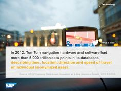 In 2012, TomTom navigation hardware and software hadmore than 5,000 trillion data points in its databases, describing time, location, direction and speed of travelof individual anonymized users.