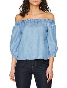 ONLY Damen Bluse Onljanice Off Shoulder DNM Top, Blau (Light Blue Denim  Light Blue Denim), 34 - Blusen outfit blusen kombinieren blusen sommer  blusen ...