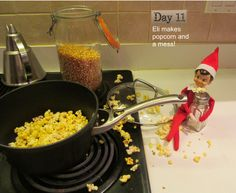 Ei the elf makes a late night snack of popcorn