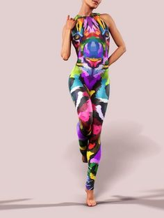 Sleeveless Workout Jumpsuit Tiger Big Cat Bodysuit Printed Open Back Psy Festival Costume Women Gym Clothing Playsuit Athletic Catsuit Fit Latex Pants, Fitted Jumpsuit, Festival Costumes, Workout Jumpsuit, Body Curves, Best Leggings, Catsuit, Costumes For Women, Sport Outfits