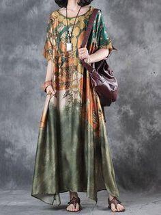 Green Casual Abstract Linen Dress